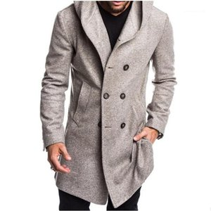 Fashion Hooded Collar Outerwears with Pockets Thick Winter Warm Gentlemen Coats Mens Designer Wool Long Coats