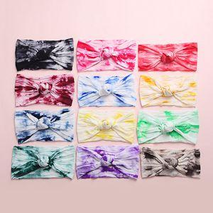 Девочки Радуга Tie Dye ободки 2020 Bands Новая мягкая лето нейлон Stretch узел волос Head Wrap для малышей Новорожденный Тюрбан M2325