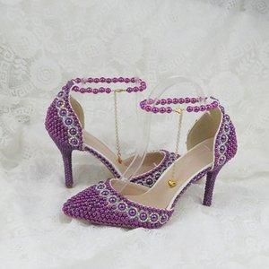Sommer Spitzschuh Frauen Hochzeitssandelholze Knöchelriemen Buckle Schuhe Purple Pearl Schuh- und Taschen Set Partykleid Schuh Lace-Up-Kette