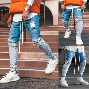 Trendy Men Skinny Jeans Biker Destroyed Fit Denim Ripped Denim Pants Gradient Ankle Zipper Pencil Pants Hip Hop Streetwear
