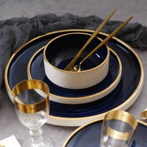 Las compras en línea de vajilla boda turco juego de cena el borde del oro de lujo de la porcelana