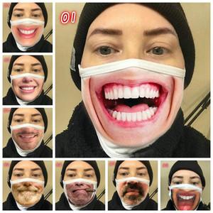 3D Funny Face Mask 8 Styles Einstellbare Schutzmundmaske Staub und Dunst Breathsonnenschutz-Gesichtsmasken Designer IIA353 Maske