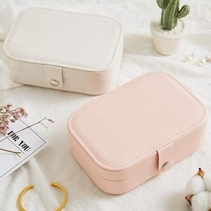 Portable Leather Earrings Ring Storage Box Korean Style Girl Lady Earrings Plate Jewelry Box Multi-function Jewelry Storage Box T200301