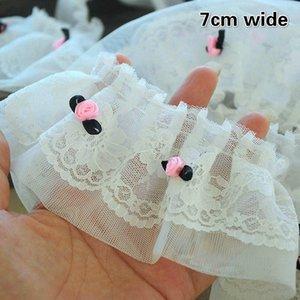 Petite fleur rose broderie fine dentelle Applique gâteau Jupe Pendulum Bébé Vêtements Fluffy 3D Accessoires Tissu Material Science m9ac #