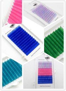 2020 جديد C / D حليقة 0.07 / 0.1MM 8 / خفض 15mm كاذبة جلدة اللون الأزرق رمش فرد جلدة الملونة فو ملحقات حجم رمش