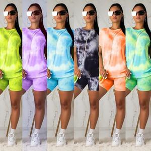النساء اثنان قطعة ملابس مجموعة عارضة رياضية التعادل صبغ قصيرة الأكمام تي شيرت السائق السراويل الدعاوى الرياضية زائد حجم الملابس dhl مجانا