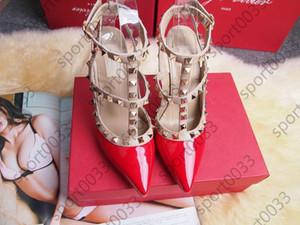 Rebites saltos altos, mulheres de salto alto festa da moda meninas sensuais sapatos pontudos sapatos de dança de casamento sapatos sandálias duplas cintas