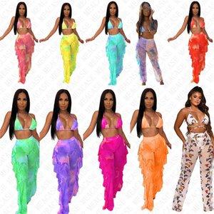 Designer mesh Tie dye women swimsuit digital print swimwear push up bra halter top and pants with Brief 2piece bikini set sexy Clothes D7614