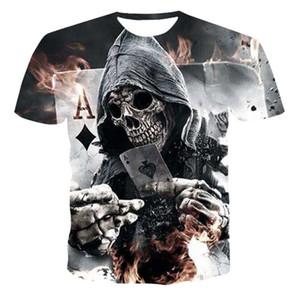 2020 Summer Nouveau T-shirt Crâne 3D Homme Fashion Poker manches courtes Tops rue col rond T-shirt unisexe Casual
