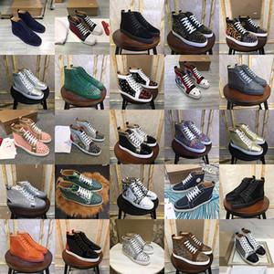 Top Quality Pairs Designer Red inferior das mulheres dos homens calça as botas de luxo Man Pico Vermelho Bottoms Outdoor Trainers High Top Sneakers Tamanho Eu35-47
