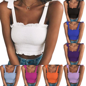 عارضة المرأة مثير أكمام سليم منزعج ضمادة الصدرية لون الصلبة تانك الأعلى المحاصيل الأزياء المحاصيل النساء مثير الصدرية الصيف الأعلى
