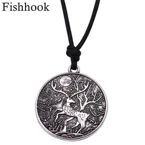 Fishhook Unisex Supernatural Zinc Alloy Sika Deer Necklace Antique Gold Color Pendant Necklaces Gift For Woman Man Jewelry
