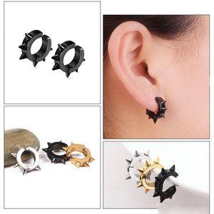 Clip On Stainless Steel Spike Hoop earrings Silver gold stud earrings ear cuff women men hip hop fashion jewelry will and sandy gift