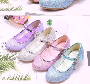 Summer Autumn Princess Girls High Heels Genuine Childrens Leather Shoes Children Cinderella Princess Shoes Sequined-Style Dance Shoes