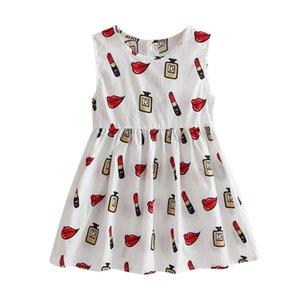 2020 Kids Girls Summer Dress O-neck Sleeveless Floral Print A-line es Cute Princess Children Clothes