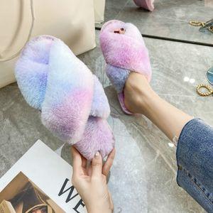 Kadınlar Terlik 2020 Kış Ayakkabı Düz Sweet Home Terlik Kadın Kapalı Ayakkabı Kürk Renk Gradyan Kadın Slipper üzerinde Yumuşak Slip, Isınma