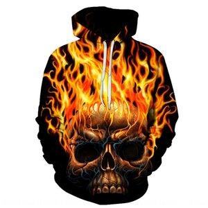 venda quente 2019 novo crânio impressão digital 3D de beisebol moletom com capuz roupas camisola sweater casal