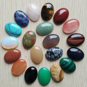envío libre 20pcs / lot al por mayor de 18x25m 2020 venta caliente de piedra natural mezcló los granos de lágrima oval CAB CABOCHON para la elaboración de joyas T200730