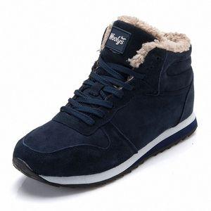 KUIDFAR Erkekler Kış Ayakkabı Sıcak Peluş İçinde Erkekler Boots tutun Katı Renk Erkek Kar Boots Erkek Antiskid Alt Botaş Boyut 37 46 Patik Fo o5Hg #