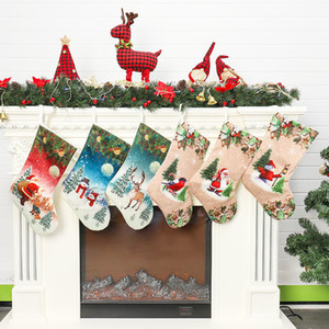 Christmas Stockings 20 inch Santa Snowman Xmas Hanging Stockings Decoration Stocking Christmas Stockings Candy Gift Bags 50pcs T1I2217