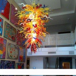 Multicolor Lustre en verre soufflé artistique d'éclairage LED Lumières E14 Art déco Murano Lampe en verre pour la décoration de la maison salon