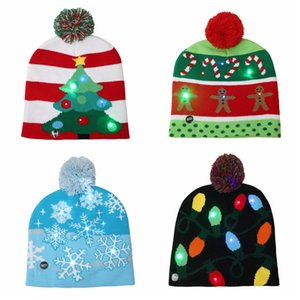 LED Light Christmas Caps Knitted Santa Claus Hats Luminous Flashing Knitting Crochet Hat Winter Warm Knit Hats Party Favor YFA2197