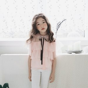 2AWh2 2020 children's clothing strawberry Shan Children's clothing Butterfly shirt Xian Qi fake two-piece shirt bowknot girl sweet temperame