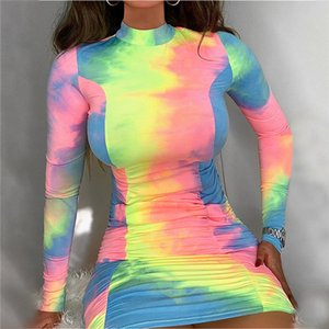 Tie Dye Pleated Womens Dresses Summer Skinny Sexy Colorful Womens Designer Dresses Long Sleeve High Neck Party Dresses