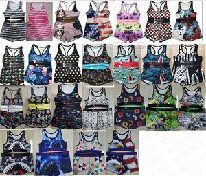 Qualitätsfrauen Badeanzug Tier Hai Druck Designer-Bademode Push-up-BH Tank-Top + Shorts 2 Stück Bikini Set Mädchenklage D7801 Schwimmen
