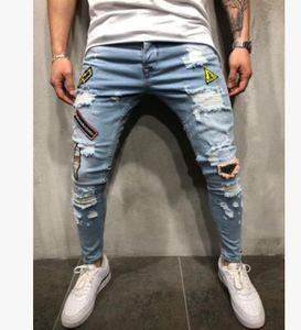 Erkek Skinny Jeans Rahat Ince Biker Kot Denim Diz Delik Hiphop Yırtık Pantolon Yıkanmış Yüksek Kalite Moda 8JIM