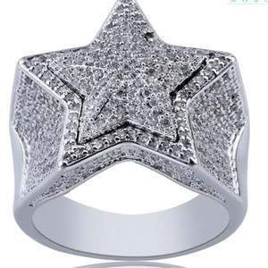 18K Gold & White Gold Mens new Bling Cubic Zirconia Pentagram Hip Hop Ring guys Full Diamond Iced Out Rapper Jewelry Gifts for Boyfriend