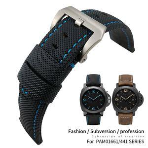 24mm Üst Kalite Naylon Tuval Deri Saat Kayışı İçin PAM Watchband pam01661 / 1312/00441/111 Bilek Bandı Bileklik Aksesuar 22mm Pim toka