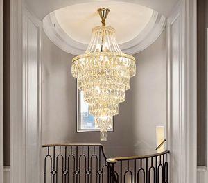 ما بعد الحداثة دوبلكس بناء كريستال الثريا ضوء إضافي طويل الذهب LED كريستال الدوارة مصابيح قلادة على الدرج فلل فندق