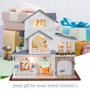 CUTEBEE bricolaje casa de muñecas de madera muñeca miniatura casa casas kit de muebles Casa llevado música juega para los niños regalo de cumpleaños K18 MX200414