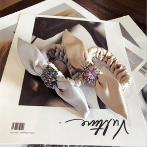 High-end boutique hair accessories handmade rhinestone super flash bow ears twist whip hair rope women ring women