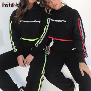InstaHot Black Side Striped Sporting 2 Piece Set Women 2020 Autumn Hooded Crop Tops Cotton Blend Tracksuit Sportwear Sweatshirts