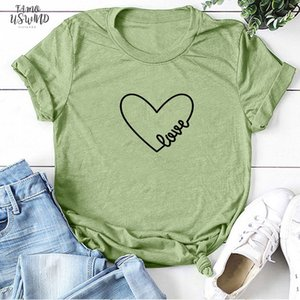 Couple T Shirt Love Print Women T Shirts Fashion O Neck Short Heart Love T Shirt Casual Aesthetic Tee Valentines Day Tops