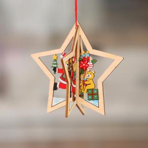 2020 Multi Styles Christmas decorations Gift wooden Christmas pendant Snow Bell Santa Christmas tree decoration with hemp rope lxj038