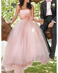 A-Line Wedding Dresses Strapless Sweep   Brush Train Tulle Sleeveless Country Wedding Dress in Color with Sashes   Ribbons Pleats