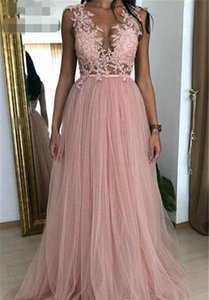 New Mother of the Bride Dresses Dusky Pink Sexy Prom Dresses Appliques Tulle Sleeveless Formal Wear Evening Party Gowns Custom Made
