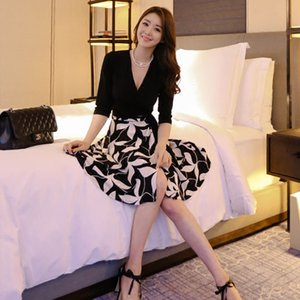 Autumn New elegante floral preto impressão V-neck meia manga Bodycon Vestido Office Work Primavera Inverno 2020