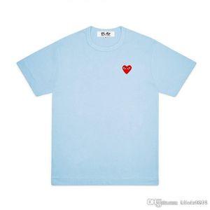 2020 beste Qualität Comme des Garçons CDG PLAY Herz New T Kurzarm T-Shirt kurz T Des Garcons T-Shirt C050 Sky Blue