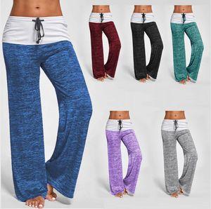 Femmes Pantalon de yoga stretch loose Comfy doux Flare jambe large taille haute Pantalon Legging Workout Patchwork Sport Fitness Cadrage en pied LJJP91