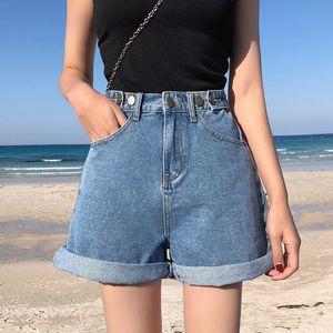 Garemay Women's Denim Shorts Classic Vintage High Waist Blue Wide Leg Female Casual Summer Ladies Shorts Jeans For Women
