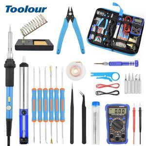 Toolour EU / US 60W Réglage Temp électrique fer à souder Kit rétroéclairé multimètre numérique à souder Assist Set Outils de réparation de soudure