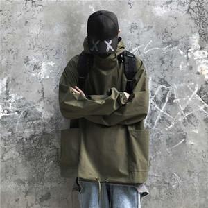 Outono Fina Seção Pullover Jacket Men Moda cor sólida Casual Jacket Homem encapuçado Streetwear solto Hip Hop Bomber Homens Jakets For Me Ucqo #