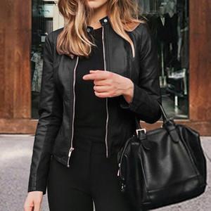 Slim Fit Faux Leather Jacket Women Classic Moto Biker PU Leater Jacket Spring Autumn Basic Zipper Coat Plus Size Outerwear