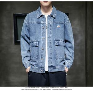 Mens retalhos Sólidos Jeans Cor Casacos Primavera e Outono lapela pescoço Casacos com bolsos manga comprida Mens Roupas com botões