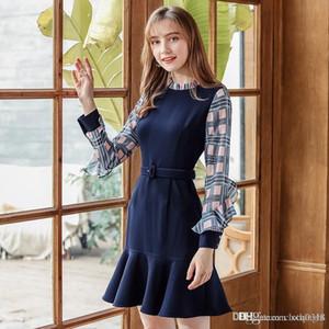 2020 autumn and winter new fashion dress women's stand collar plaid stitching ruffled skirt temperament light cooked plus velvet dress