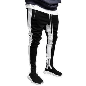 Mens Joggers pantalones casuales aptitud de los hombres deportiva con cordón Bottoms lateral rayado flacos Sweatpants gimnasios del basculador de la cremallera de los pantalones